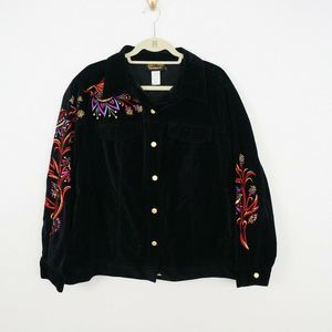 Bob Mackie Wearable Art Jacket Embroidered Floral